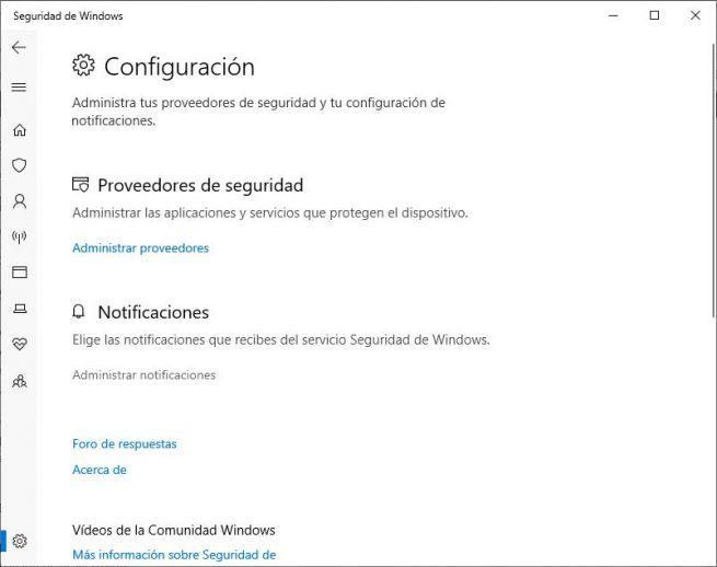 notificaciones de Windows Defender