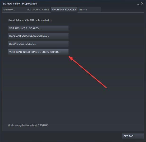 Comprobar integridad de datos de juego en Steam