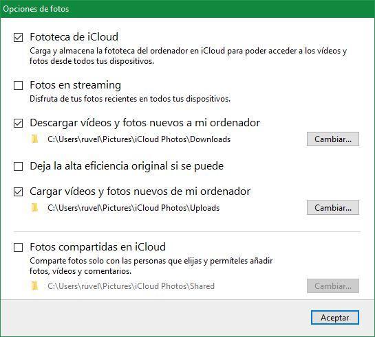 Configuración Fotos iCloud Windows 10
