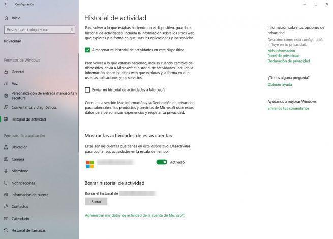 Configuración - Historial de actividad de Windows 10