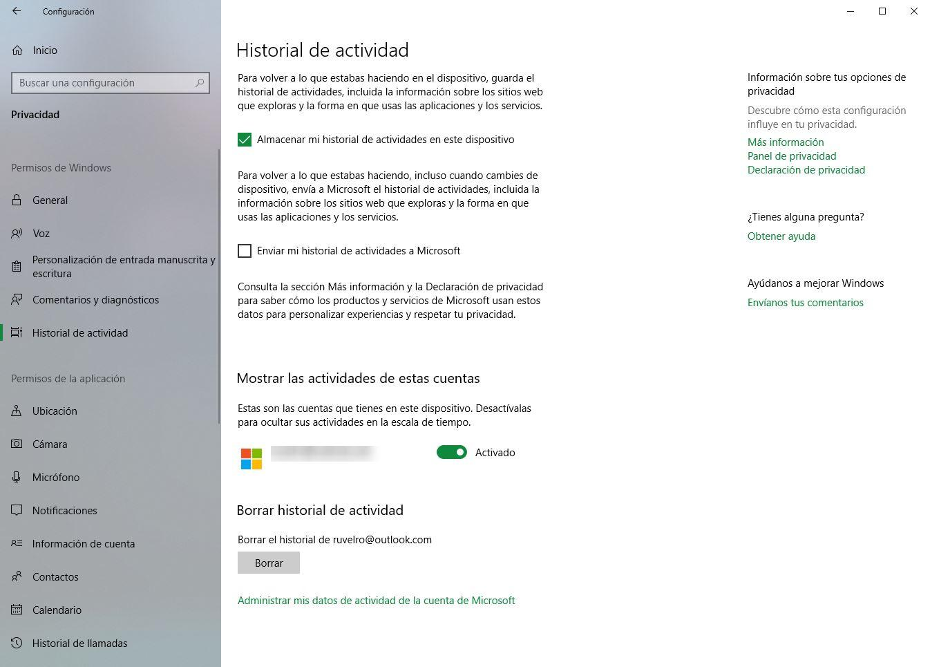 Desactivar compartir historial actividad windows 10