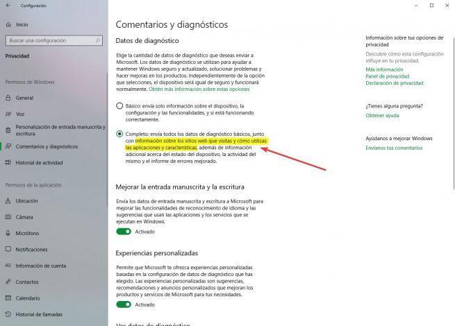 Envio apps webs diagnostico windows 10