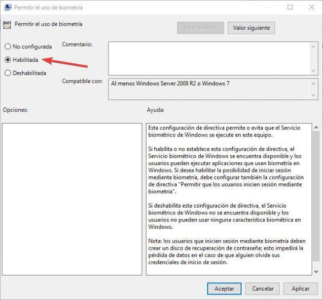 habilitar biometría windows 10 gpedit