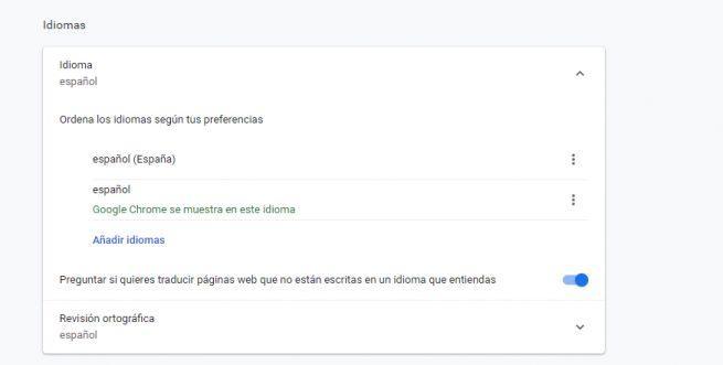 Idiomas Chrome