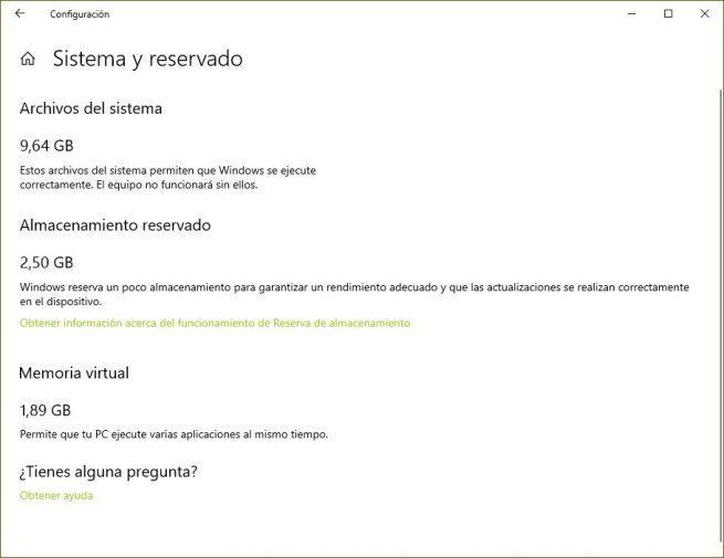 Almacenamiento Reservado Windows 10