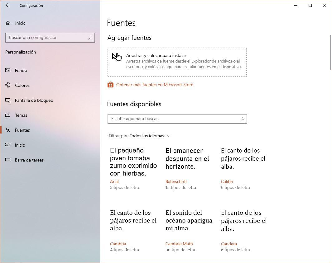 Apartado fuentes Windows 10 19H1