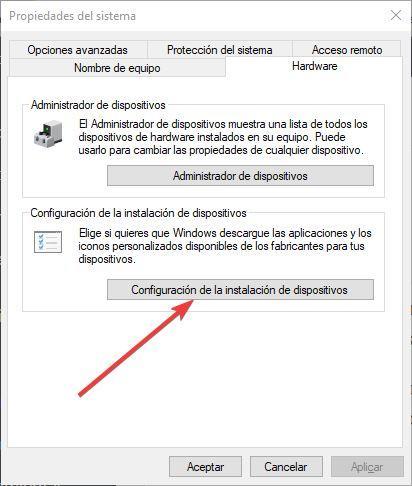 Configuración de la instalación de dispositivos - Windows 10