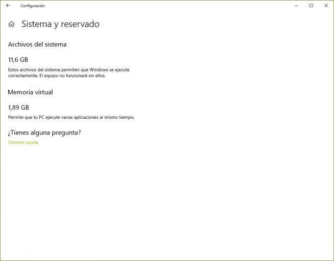 Espacio de sistema en sensor de almacenamiento Windows 10