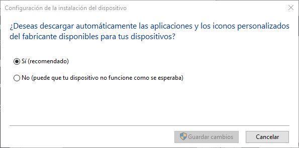Instalar aplicaciones e iconos de dispositivos Windows 10