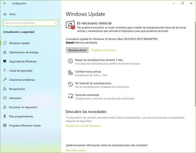 Nuevas opciones Windows Update Windows 10 19H1