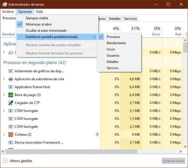 Pestaña predeterminada Administrador de tareas Windows 10 April 2019 Update