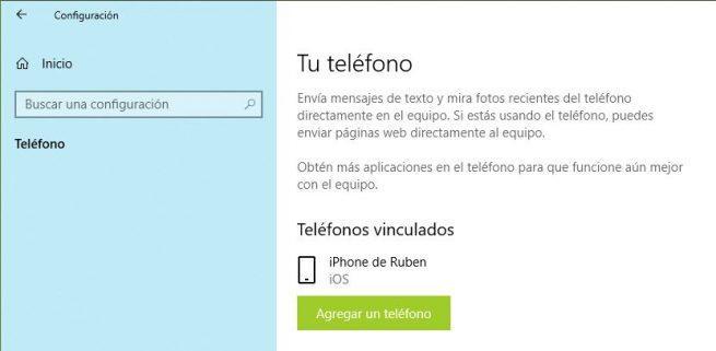 Teléfono vinculado Windows 10
