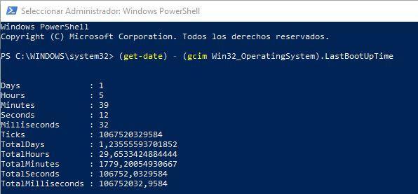 Tiempo Windows encendido - Powershell