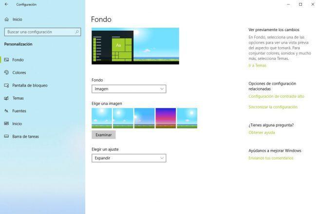Cambiar fondo Windows 10