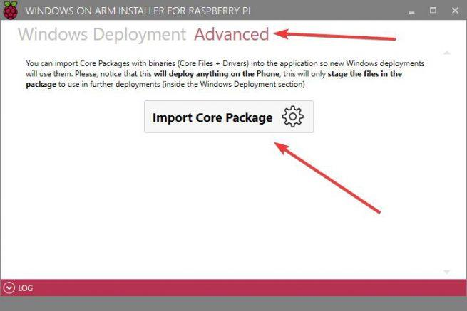 Instalar Windows 10 en Raspberry Pi 3 - Importar Core Package