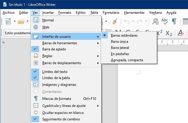 Menú Interfaz LibreOffice 6.2