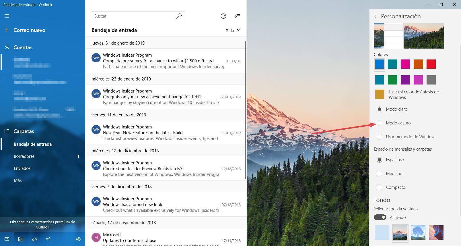 Personalizar app Correo Windows 10