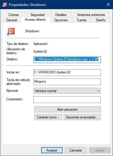 Propiedades acceso directo Windows - 1
