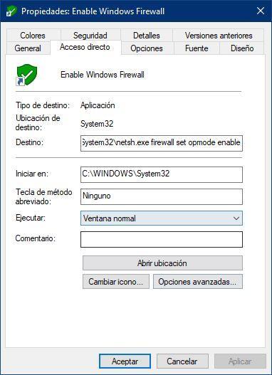 Propiedades acceso directo Windows - 2