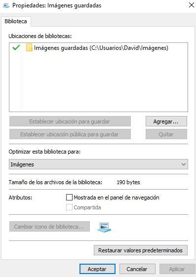 Bibliotecas Windows 10