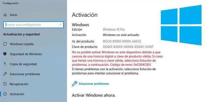 Activación Prueba Windows 10