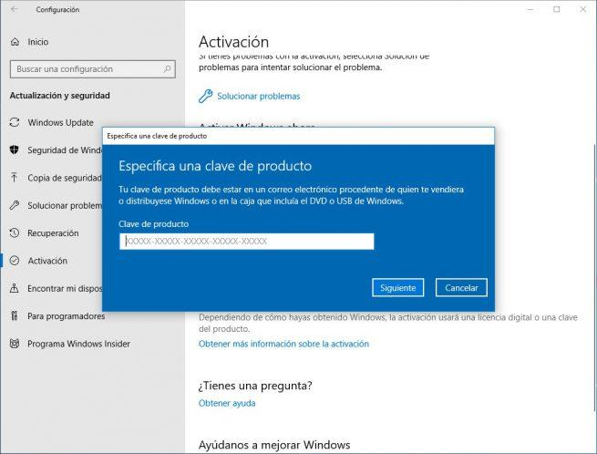Clave Activar Windows 10