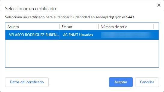Elegir certificado inicio sesion Google Chrome