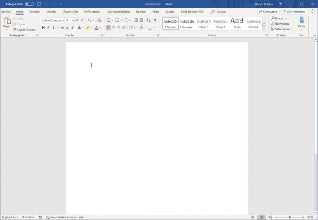 Nuevo documento Word 2016