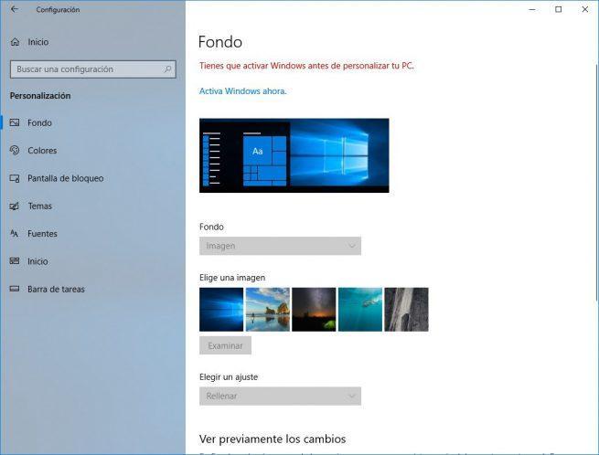 Opciones personalización Windows 10