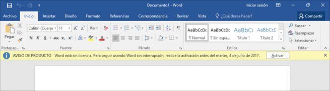 Word desactivado sin licencia