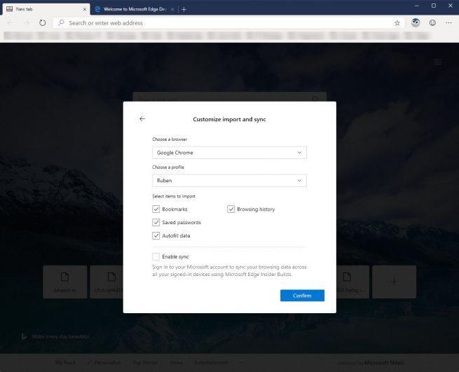Edge Chromium importar datos Google Chrome