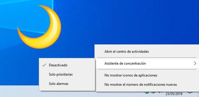 Asistente Concentración Windows 10
