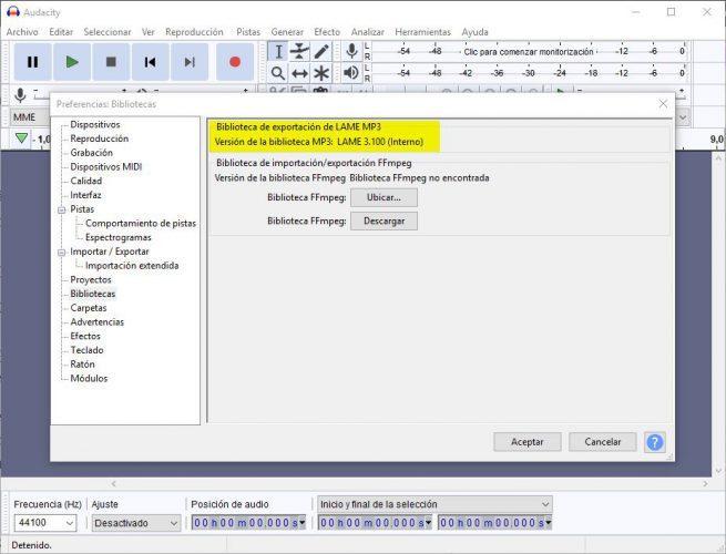 Audacity 2.3.2 - librería lame
