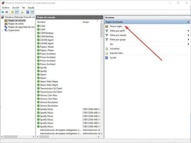 Crear nueva regla Firewall de Windows 10 - 1