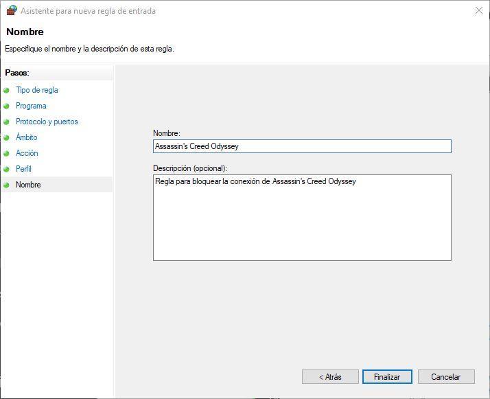 Crear nueva regla Firewall de Windows 10 - 8