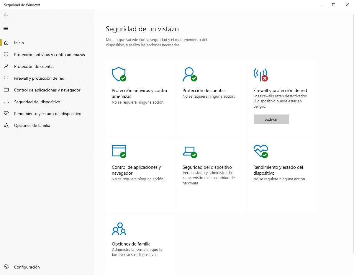 Firewall desactivado Windows Defender