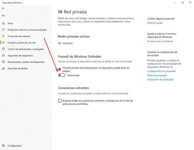 Firewall desactivado en Windows 10