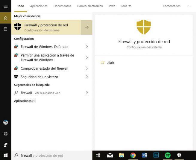 Firewall y protección de red en Windows 10