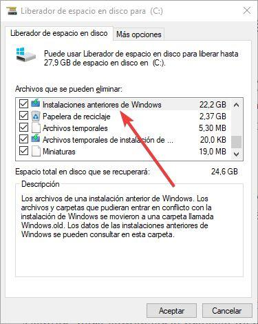 Liberar espacio tras actualizar a Windows 10 May 2019 Update - 4