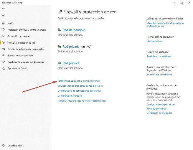 Permitir nuevas aplicaciones Firewall de Windows 10 -1