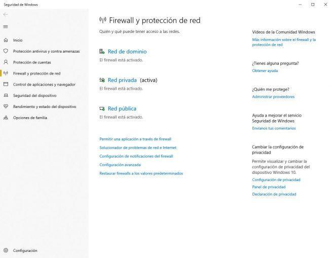 Redes con Firewall en Windows 10