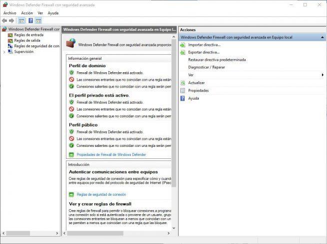 Windows Defender Firewall con seguridad avanzada
