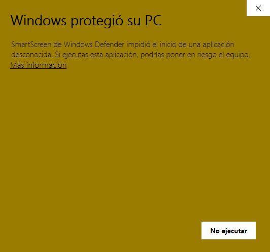 Windows SmartScreen - app bloqueada 1