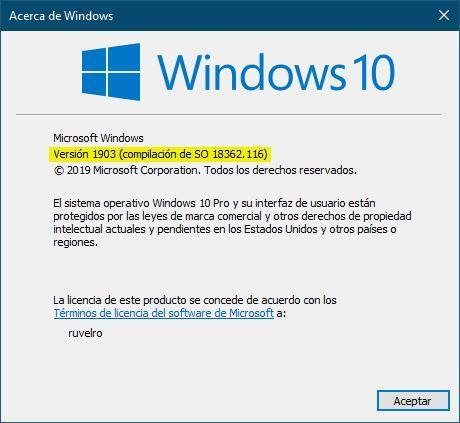 Ver versión de Windows 10