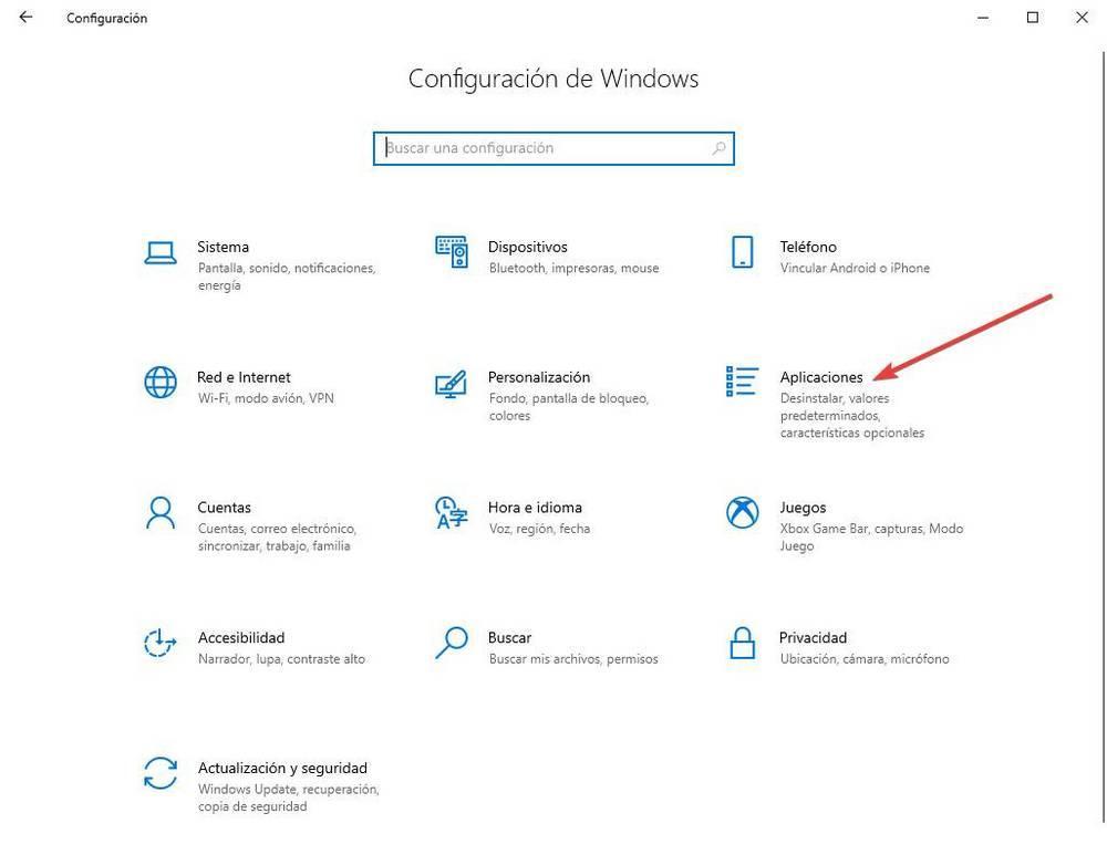 Configuración - Abrir aplicaciones