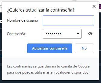 Actualizar contraseña en Google Chrome