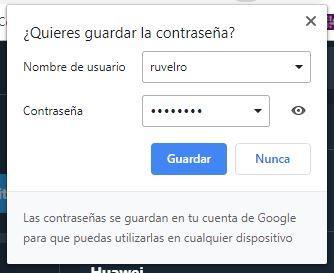 Guardar contraseña Google Chrome