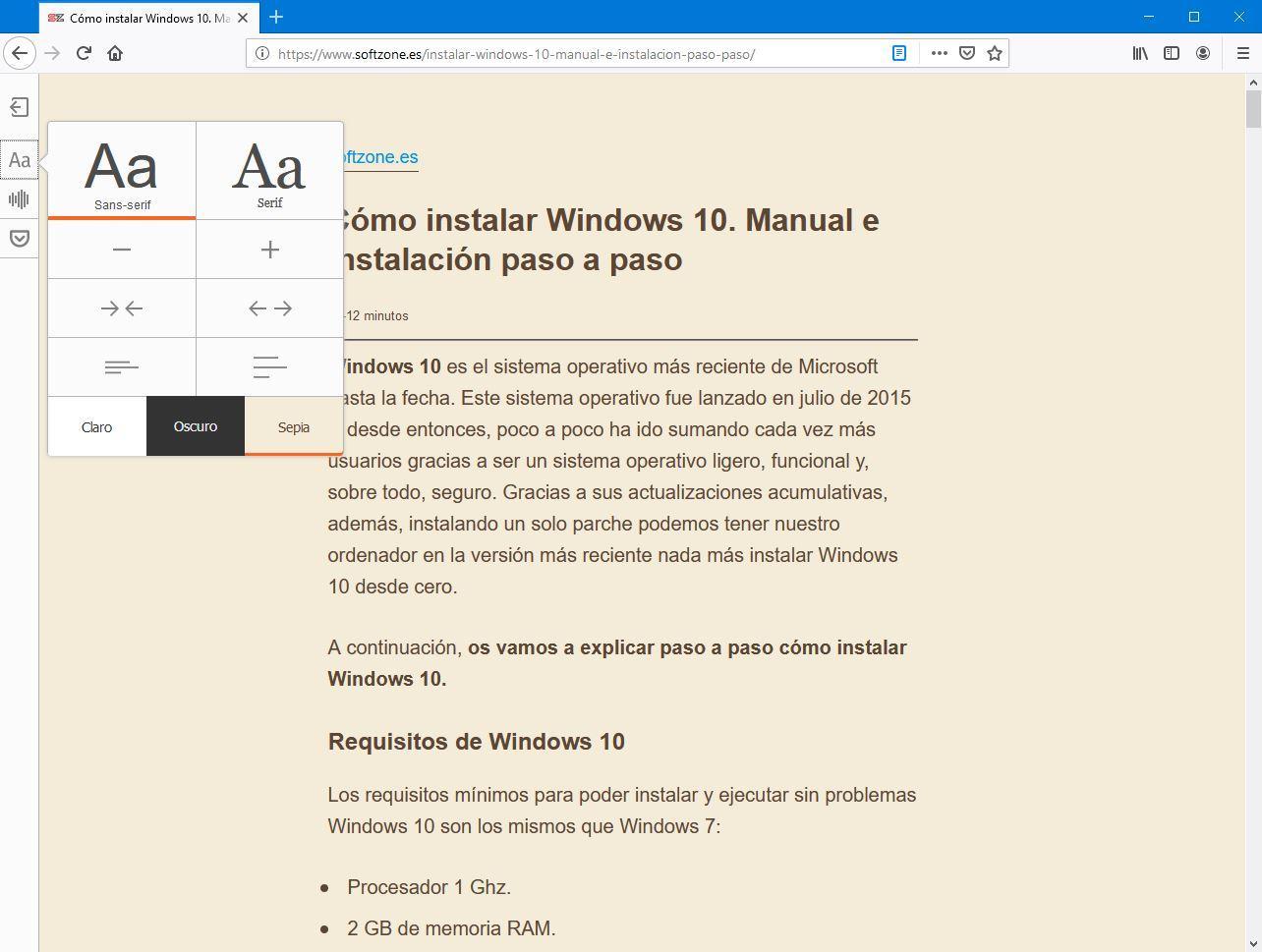 Personalizar la vista de lectura en Firefox