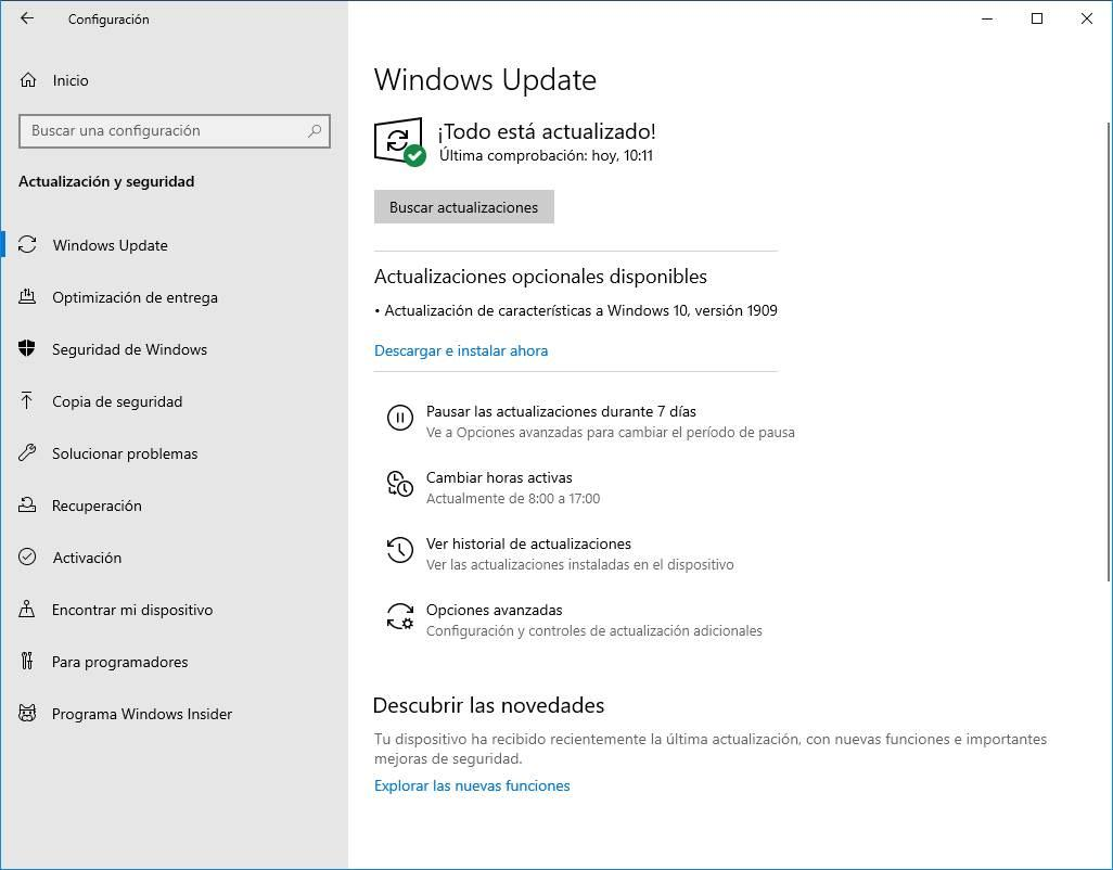 Actualización Windows 10 19H2