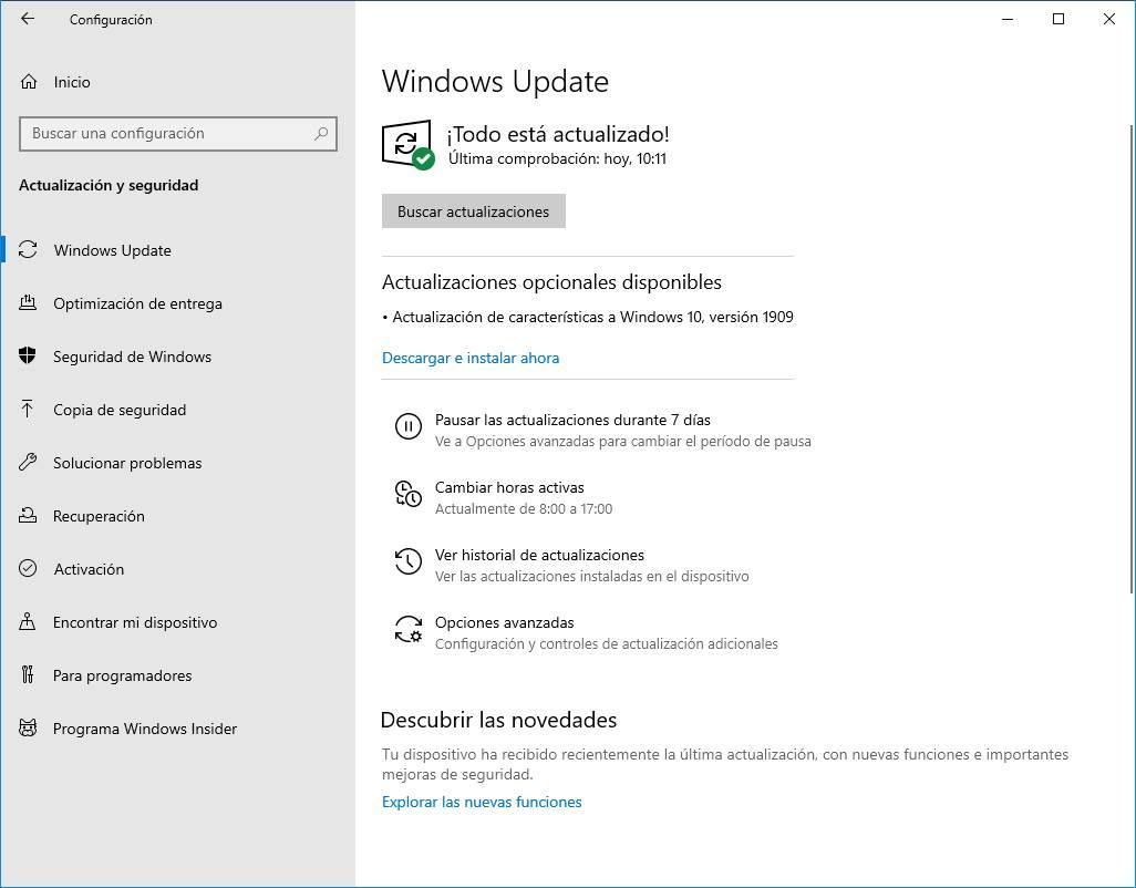 Actualización Windows 10 19H2